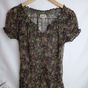 Converse sheer floral blouse size S